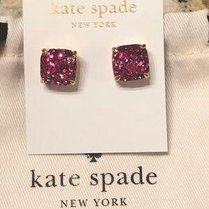 💕♠️Kate Spade hot pink square glitter studs EUC!